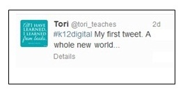 Tori's first tweet (2)